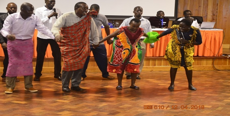 Participants performing a cultural dance during the National INSET at CEMASTEA.